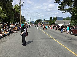 Looking west down Yarrow Central Rd. towards the village centre during Yarrow Days 2018 in Yarrow, BC.