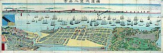 Sadahide - Yokohama yokuran no shinkei (Panoramic view of Yokohama)1871