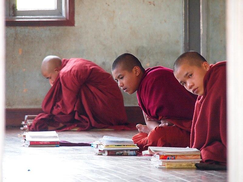 Bestand:Young buddhist monks praying in Kalaw (Myanmar 2013) (11773022134).jpg