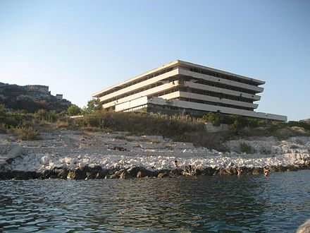 A shelled Croatian hotel resort on the Dalmatian coastline in Kupari near Dubrovnik, 1991 Yugoslaw Army destroyed this Hotel in Kupari, Croatia.JPG
