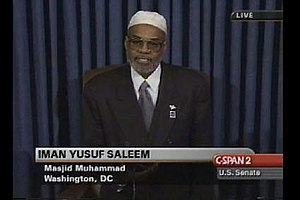 Chaplain of the United States Senate - Imam Yusuf Saleem delivers opening prayer as Guest Chaplain, October 24, 2001