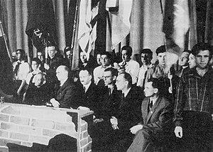 Żegota - The third anniversary of the Warsaw Ghetto Uprising with members of Żegota, Warsaw, April 1946. Seated, from right to left: Piotr Gajewski, Ferdynand Marek Arczyński, Władysław Bartoszewski, Adolf Berman and Tadeusz Rek