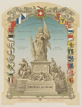 Unus pro omnibus, omnes pro uno - Memorial sheet to mark the revision of the Swiss federal constitution on April 19, 1874 by E. Conrad, ca. 1874.