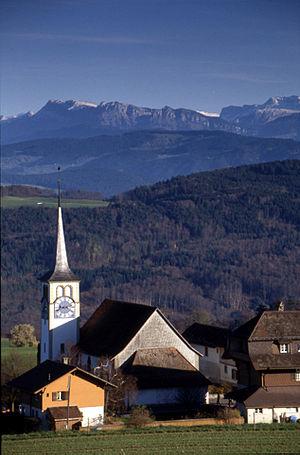 Zimmerwald - church of Zimmerwald, view towards Belpberg and Alps