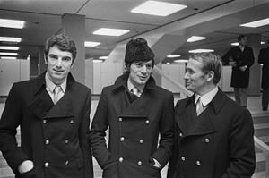 Dino Zoff - Zoff (left) with Napoli in 1970, beside Antonio Juliano and Kurt Hamrin, at Schiphol for the match of Inter-Cities Fairs Cup against Ajax Amsterdam.
