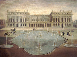 Garden façade of the château ca. 1675 showing the terrace that was later to become part of the Hall of Mirrors