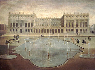 Palace of Versailles - The facade of the palace facing the garden in 1675. The terrace was replaced by the Hall of Mirrors
