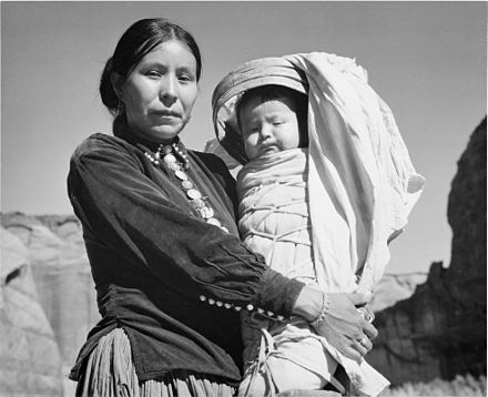"Navajo woman and child, photographed by Ansel Adams, c. 1944 ""Navajo Woman and Infant, Canyon de Chelle, Arizona."" (Canyon de Chelly National Monument), 1933 - 1942 - NARA - 519947.jpg"