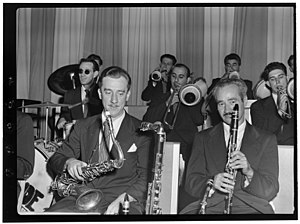 Danny Polo - Image: (Portrait of Micky Folus, Danny Polo, Billy Exiner, Vahe (Tak) Takvorian, and Al Langstaff, Eddie Condon's, New York, N.Y., ca. Oct. 1947) (LOC) (5104557581)