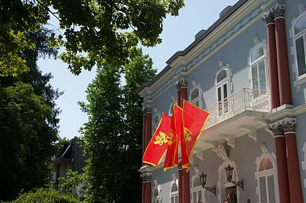 The Blue Palace, the official residence of Montenegro's president, is in Cetinje, although the executive and legislature are located in Podgorica. Tsetinje, Tsrna Gora.jpg