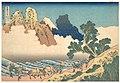 冨嶽三十六景 身延川裏不二-View from the Other Side of Fuji from the Minobu River (Minobugawa ura Fuji), from the series Thirty-six Views of Mount Fuji (Fugaku sanjūrokkei) MET DP141052.jpg