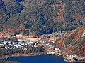 紅葉台の展望台から西湖いやしの里根場を見る - panoramio.jpg