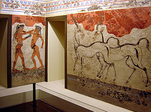 Wall Paintings of Thera - Akrotiri Frescos of Boxing Boys (Possibly Girls) and Gazelles in the National Archaeological Museum of Athens.