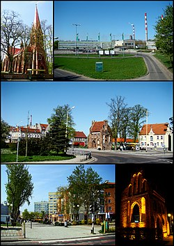 Police; Top left: Saint Mary's Church, Top right: Kuznicka industrial complex area, Center: Rynek Square, Bottom left: Anny Jagiellonki New Town, Bottom right: A night view of a gothic chapel in Chrobry Square