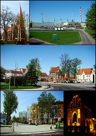 Police, Poland - Police; Top left: Saint Mary's Church, Top right: Kuznicka industrial complex area, Center: Rynek Square, Bottom left: Anny Jagiellonki New Town, Bottom right: A night view of a gothic chapel in Chrobry Square