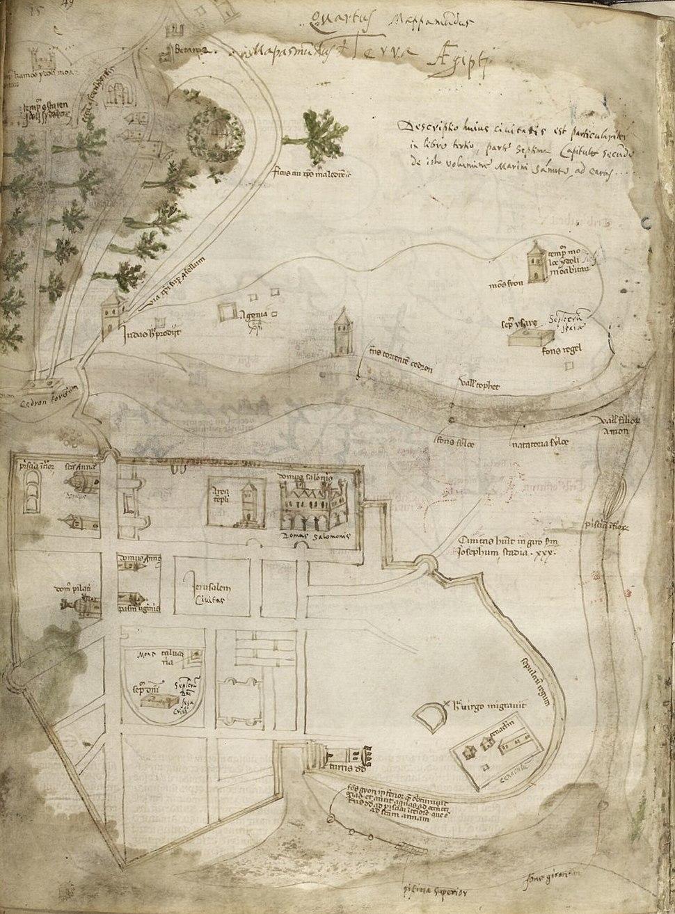 1321 map of Jerusalem from Sanudo-Vesconte's Liber Secretorum