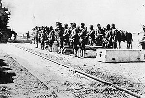 Battle of Parral - Men of the 13th Cavalry, in March of 1916, waiting to embark a train in Columbus, New Mexico for operations during the Pancho Villa Expedition.