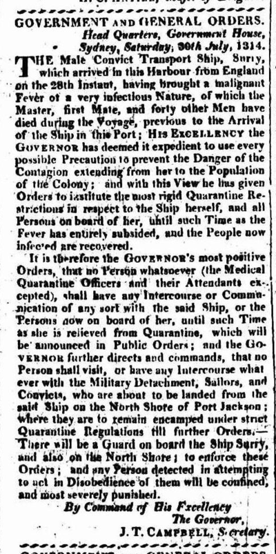 Quarantine of the convict ship Surry on the North Shore of Sydney Harbour in 1814, the first quarantine in Australia 1814 07 30 Sydney Gazette Surry Quarantine.png