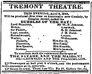 Tremont Theatre, Boston - Image: 1842 Tremont Theatre Boston Daily Atlas April 4