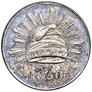 Three-cent silver - Pattern coin struck to Peale's design for the three-cent piece in silver