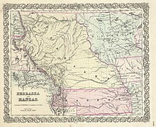 Kansasnebraska act wikipedia 1855 first edition of coltons map of nebraska and kansas territories sciox Choice Image