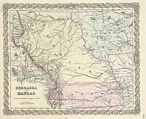 Kansas–Nebraska Act - 1855 first edition of Colton's map of Nebraska and Kansas Territories