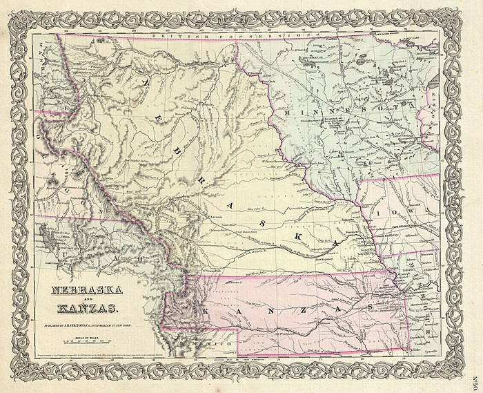 The Kansas–Nebraska Act organized Kansas (in pink) and Nebraska Territory (yellow).