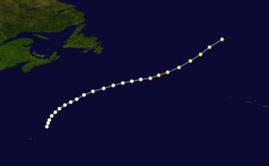 1861 Atlantic hurricane season - Image: 1861 Atlantic hurricane 3 track