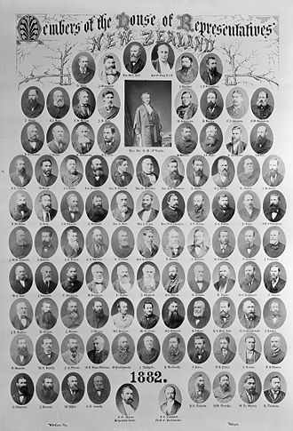 8th New Zealand Parliament - Portraits depicting members of the 1882 House of Representatives.