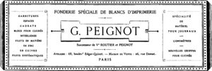 Georges Peignot - Advertisement for Gustave Peignot's foundry, Georges' father, published in L'imprimerie magazine, in 1883.