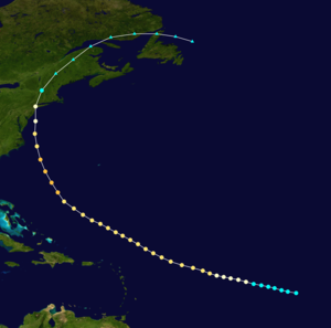 1893 New York hurricane - Image: 1893 Atlantic hurricane 4 track