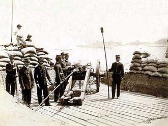Revolta da Armada - A Brazilian battery at Rio de Janeiro in 1894.