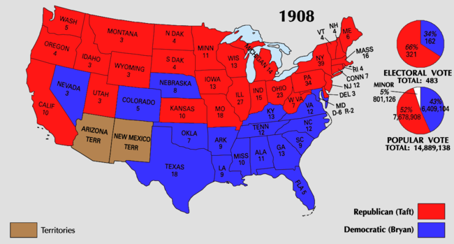 United States Presidential Election Wikipedia - Us map 1908