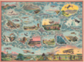 1912 Saussine Pictorial Broadside Game Board of a Plane Trip Around the World.png