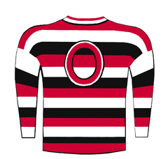 A red, black and white horizontal striped sweater in a barber-pole pattern, with a large red-letter 'O' on the chest.
