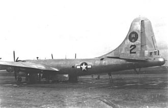 1945 Japan–Washington flight - B-29 Number 2 at Sapporo Air Base. Gun turrets are absent, replaced by smooth fairings.