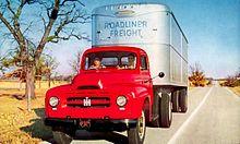 1953 international r-165 roadliner, old advertising postcard by ihc