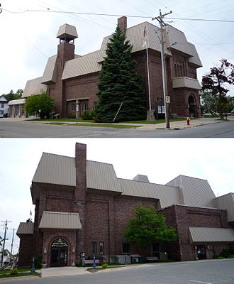 Cheboygan, Michigan - Opposite views of the Opera House, which now also houses the City Hall, police headquarters and fire station.