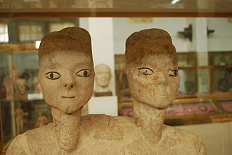 Amman - 'Ain Ghazal Statues on display at The Jordan Museum. Dating back to 7250 BC, they are considered to be among the oldest human statues ever found.