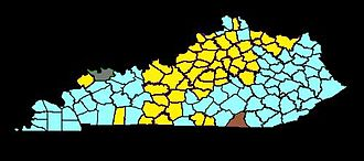 2010 United States Senate election in Kentucky - The county carried by James Buckmaster is in gray. The county carried by Darlene Price is in brown. The counties carried by Dan Mongiardo are in blue. The counties carried by Jack Conway are in yellow.