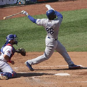 Yasiel Puig - Puig's follow through for the 2014 Dodgers