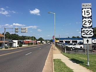 Culpeper, Virginia - View north along US 15 Bus, US 29 Bus and US 522 in Culpeper