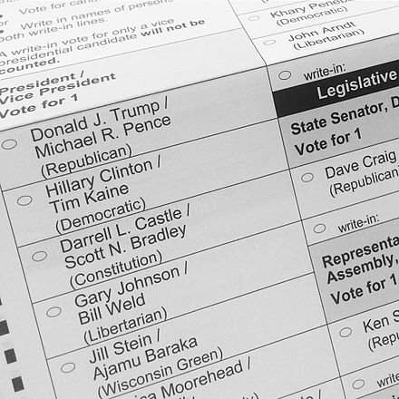 A general election ballot, listing the presidential and vice presidential candidates. 2016 Presidential Election ballot.jpg