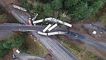 Aerial view of the wreckage after the derailment.