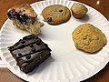 2019-11-05 09 07 08 A chocolate fudge brownie with chocolate chips, slice of blueberry pastry, banana nut muffin and two chocolate chip cookies in the Dulles section of Sterling, Loudoun County, Virginia.jpg