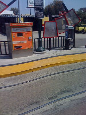 25th & Commercial station - A ticket machine (left) at 25th and Commercial Station
