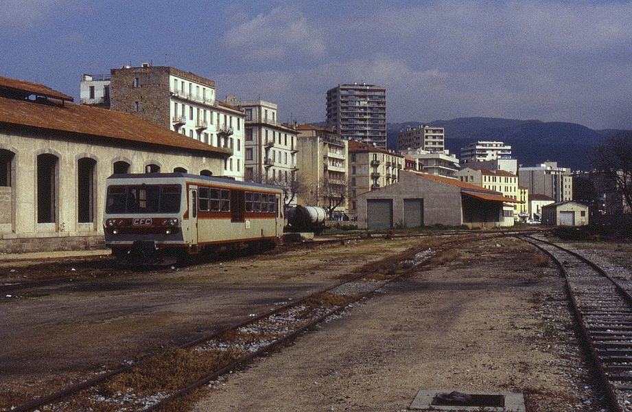 Single railcar X5002 is seen stabled at Ajaccio on the metre gauge Corsican railways on 30 March 1996.