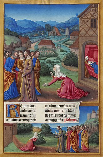 """Christianity and fringed garments - A 15th century depiction of a woman hoping to become healed by touching Jesus's fringed garments. """"Les Très Riches Heures du Duc de Berry"""", by the Limbourg brothers."""