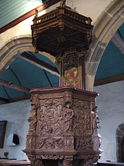 The carved pulpit