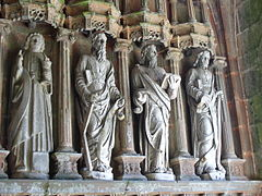 Some of the statues of the apostles in the porch interior